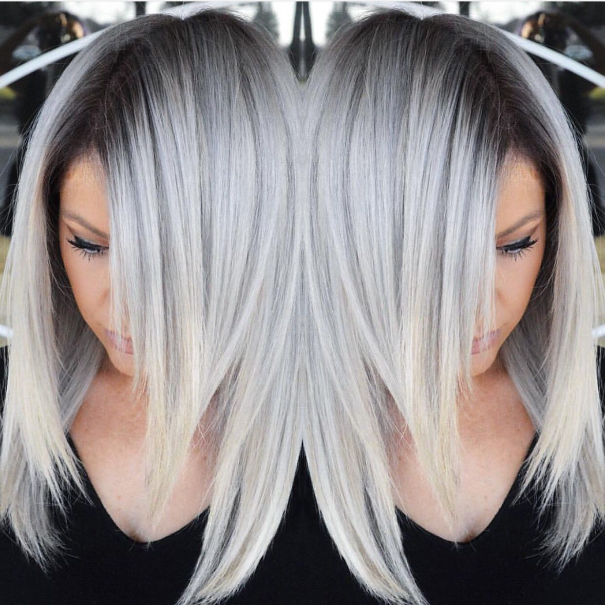 Stunning Multidimensional Silver hair color design with dark ...