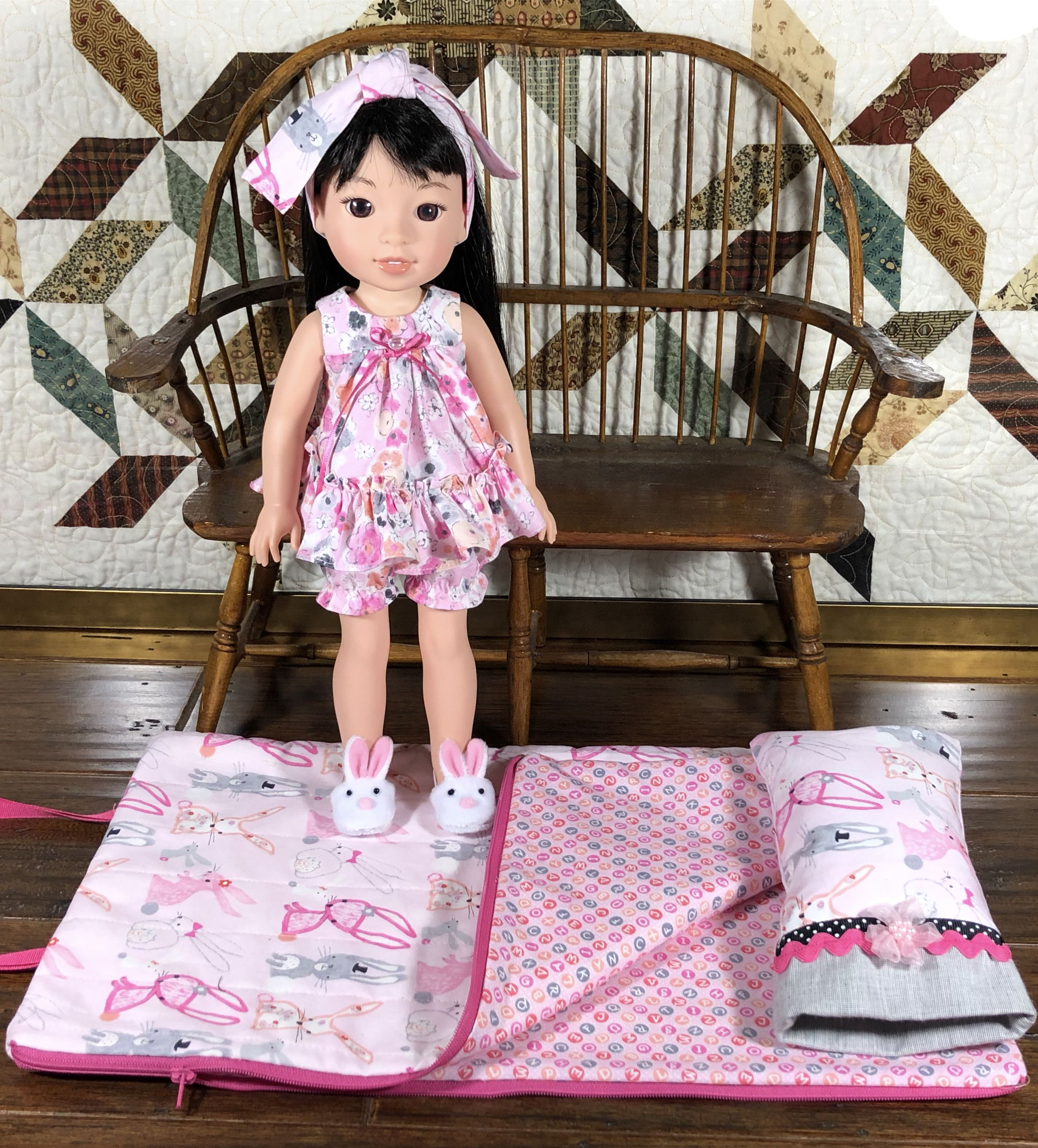 Pink Bunny Doll Nightgown Fits 14 Inch American Girl Wellie Wishers Doll Clothes