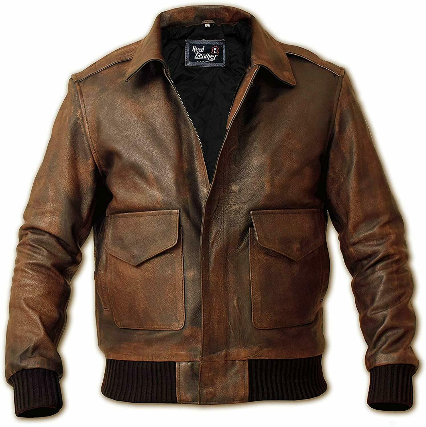 Mens Air Force A2 Brown Real Leather Flight Bomber Jacket Winter Special Leather Jacket Men Real Leather Jacket Leather Jackets Online [ 1500 x 1495 Pixel ]