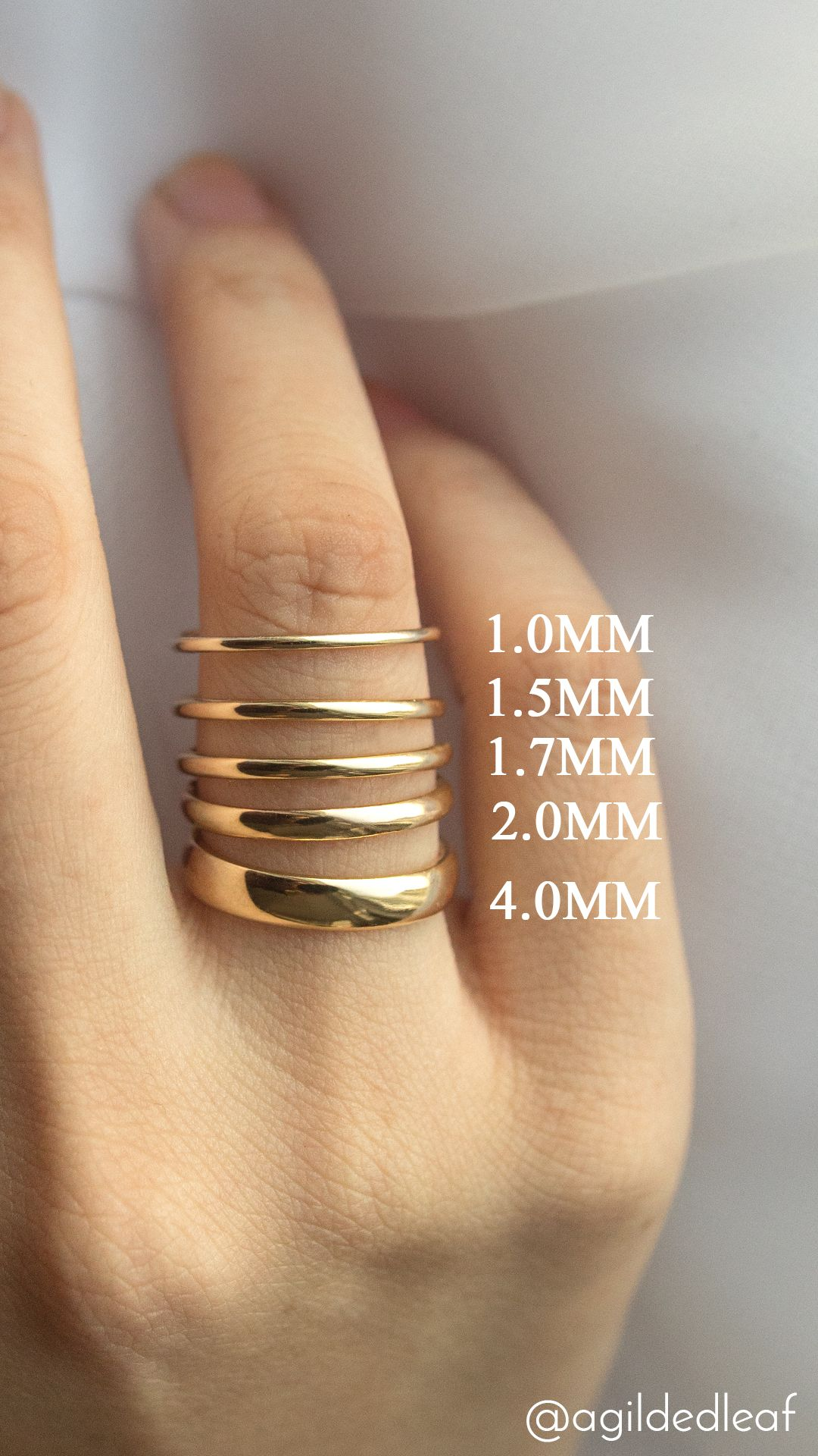 Popular Wedding Ring Width Comparison A Gilded Leaf Jewelry Ring