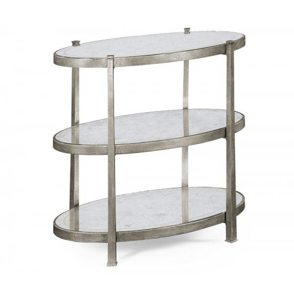 Jonathan Charles Furniture Luxury Designer 3 Tier Glass Side Table Silver Glass Side Tables Antique End Tables Glass Table
