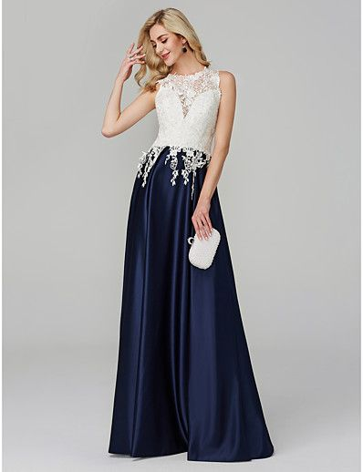 22840b85fb8f ADOR Evening Dress A-Line Illusion Neck Floor Length Lace See Through /  Color Block with Appliques