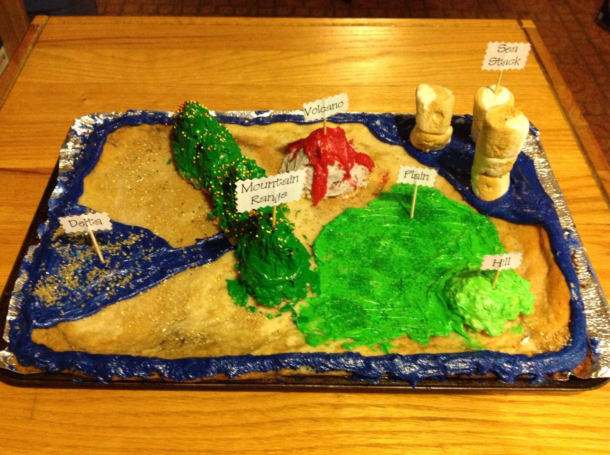 landform project End of the 2nd grade school year (2015) landform project video aiden had to make an edible landscape showing 4 different examples of landforms.
