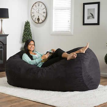 Christopher Knight Home Asher Faux Suede Lounge Beanbag Chair Black Size Large Microfiber