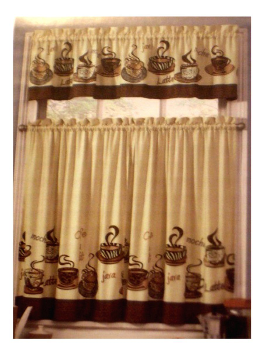 Exceptional Coffee Kitchen Decorations #10: This Complete Set Of Kitchen Curtains Are Done In A Coffee Theme Featuring  Cups Of Steaming Coffee. The Words Mocha, Latte, And Java Are Printed On E