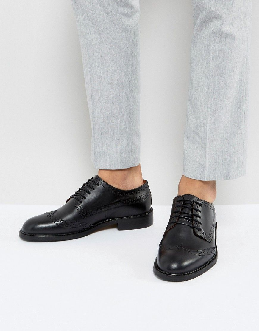 23688c9720198 Selected Homme Baxter Leather Brogue Shoes In Black   Products ...