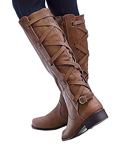 e809a56f7ffb Syktkmx Womens Lace Up Strappy Knee High Leather Winter Low Heel Side Zip Riding  Boots (11 B(M) US