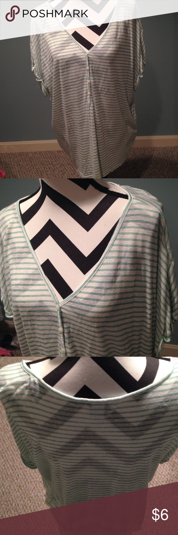 Cute top! Old Navy cute green & white stripe top in good condition. Only worn a couple of times- throw in with a bundle for practically nothing if you're having something shipped anyway!! Old Navy Tops Tees - Short Sleeve