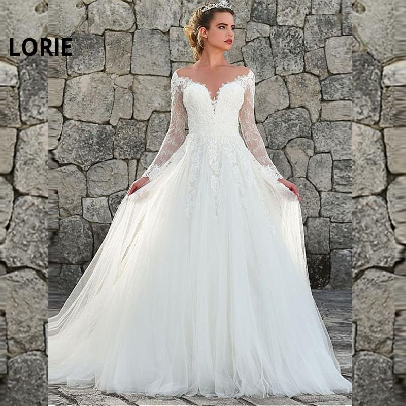 Lorie Lace Wedding Dresses 2019 Appliqued With Lace A Line: LORIE 2019 Nice Tulle & Lace Jewel Neckline A-line Wedding