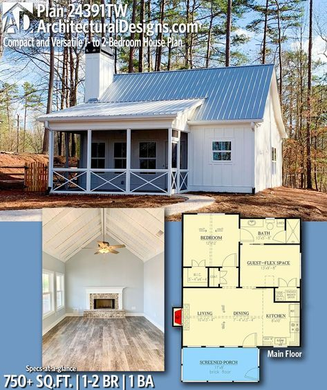Architectural Designs Tiny House Plan TW gives you 1 2 bedrooms