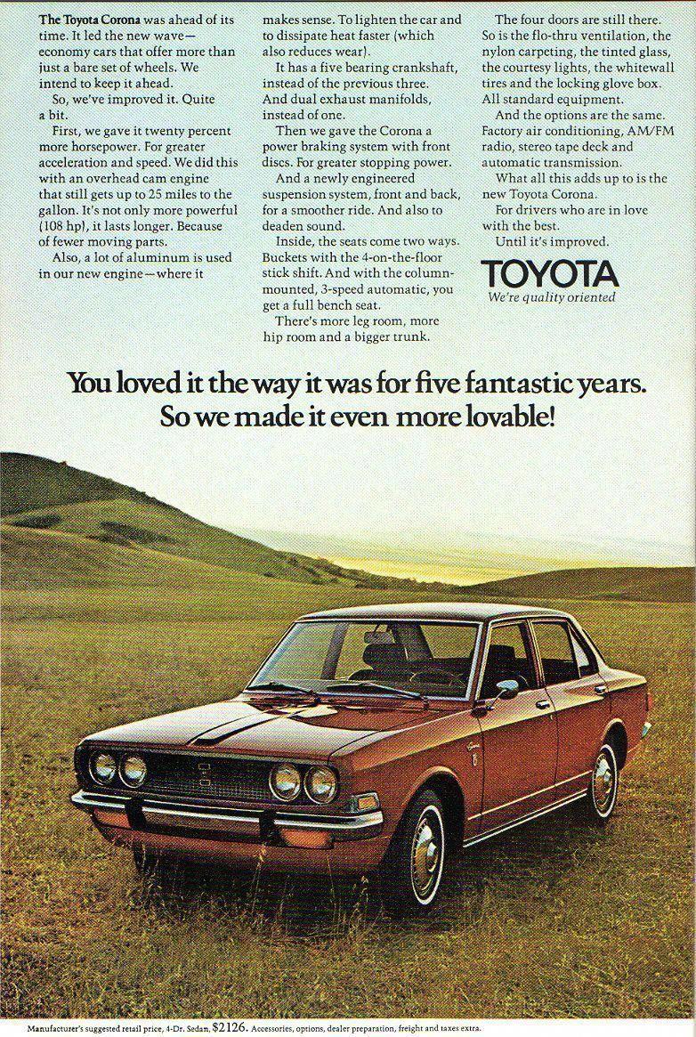 Goshyesvintageads Toyota Corona Ad 1970 Toyotaclassiccars Toyota Corona Toyota Classic Cars