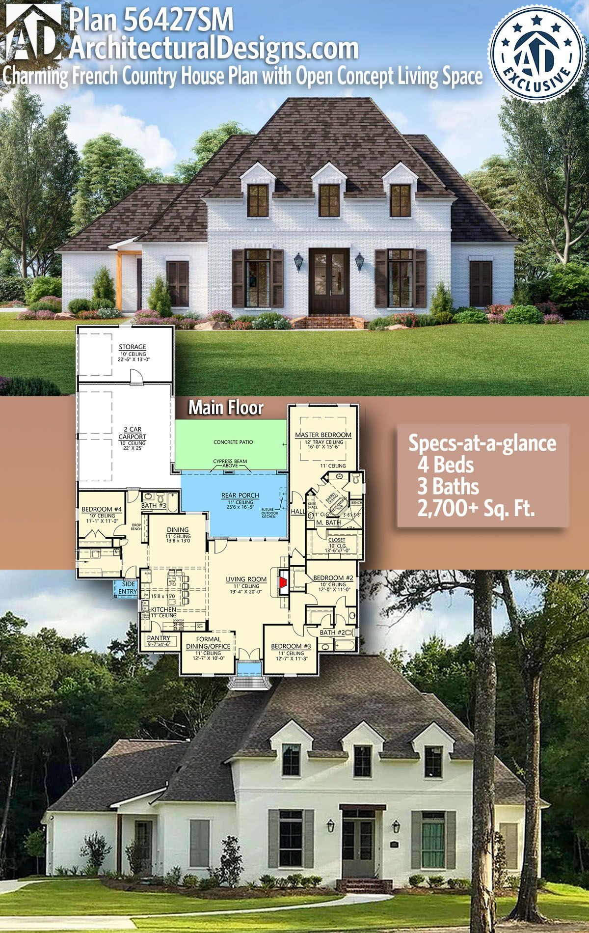 Plan 56427sm Charming French Country House Plan With Open Concept Living Space In 2021 French Country House French Country House Plans Country Floor Plans