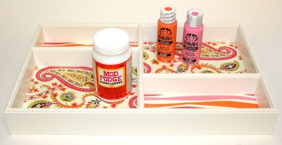 Mod Podge DIY organization - how to decoupage the inside of a tray