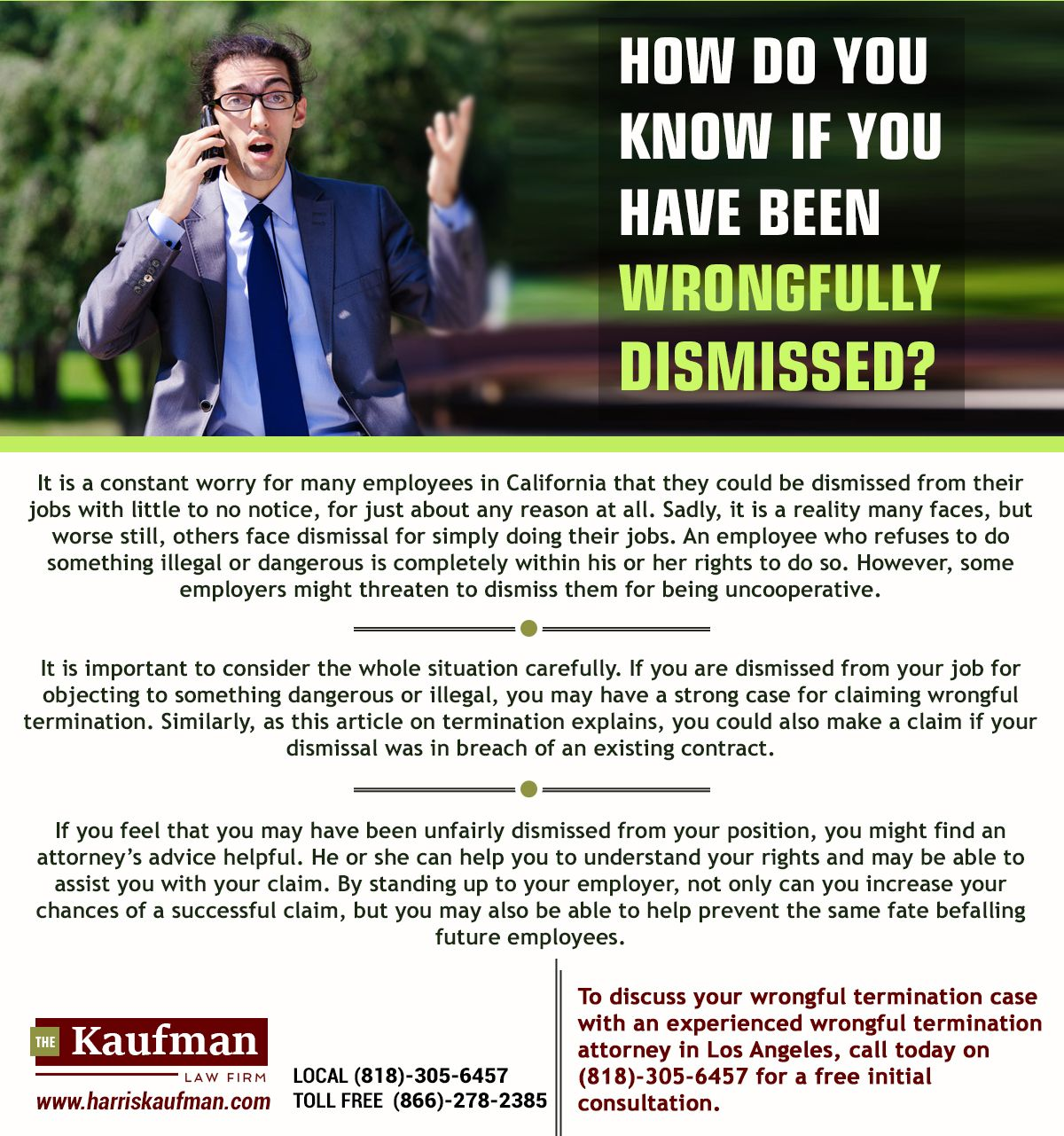 The order of dismissal at will: advice of a lawyer
