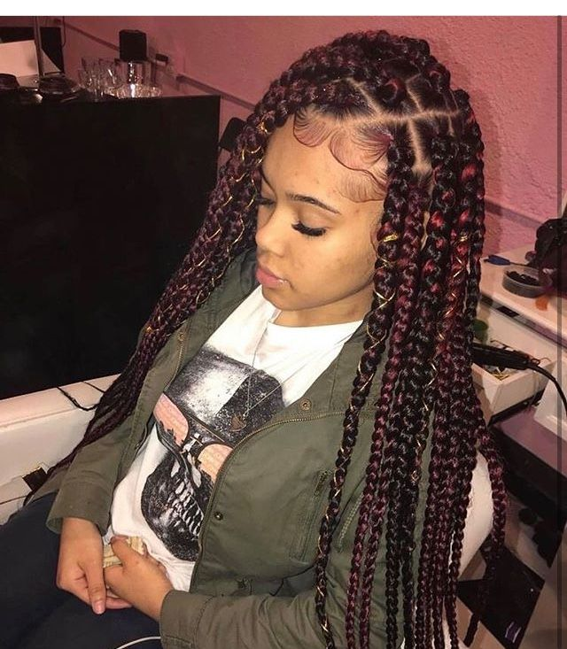 Light Skin With Red And Black Box Braids That Are Really Cute