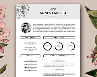 modern resume template cover letter von botanicapaperieshop - Fashion Design Resume Template