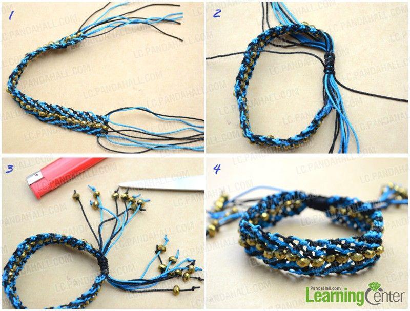 Make adjustable closure for the macramé beaded bracelet pattern