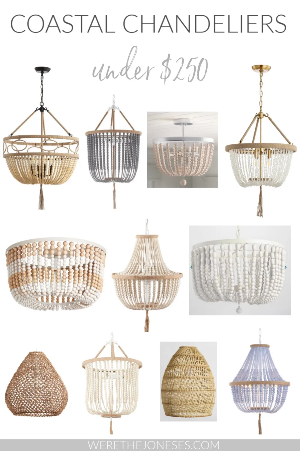 Coastal chandelier light fixture ideas under $250! Affordable beach house lighting for your modern coastal living room, bedroom, and kitchen.