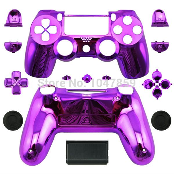 Chrome Purple Housing Replacement Shell and Buttons For Sony