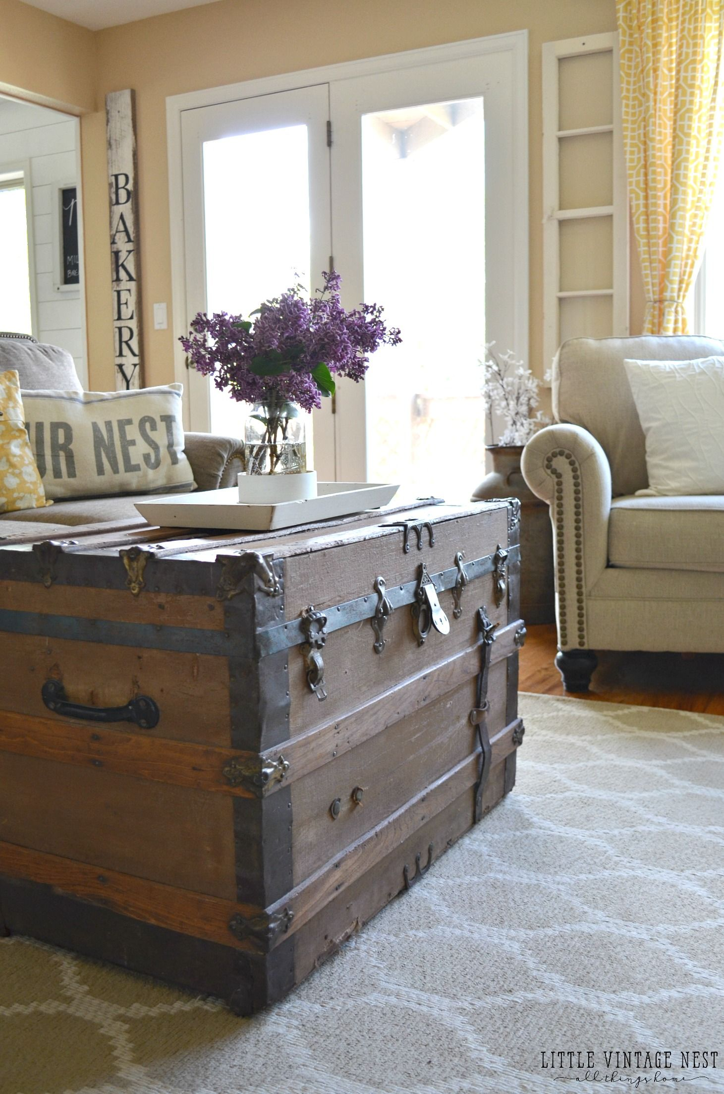 Farmhouse Living Room Vintage Trunk More