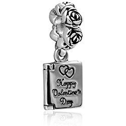 f35540913 Hoobeads Jewelry Happy Valentine's Day Authentic 925 Sterling silver Love  Note Pendant Charms Fits Pandora Bracelets