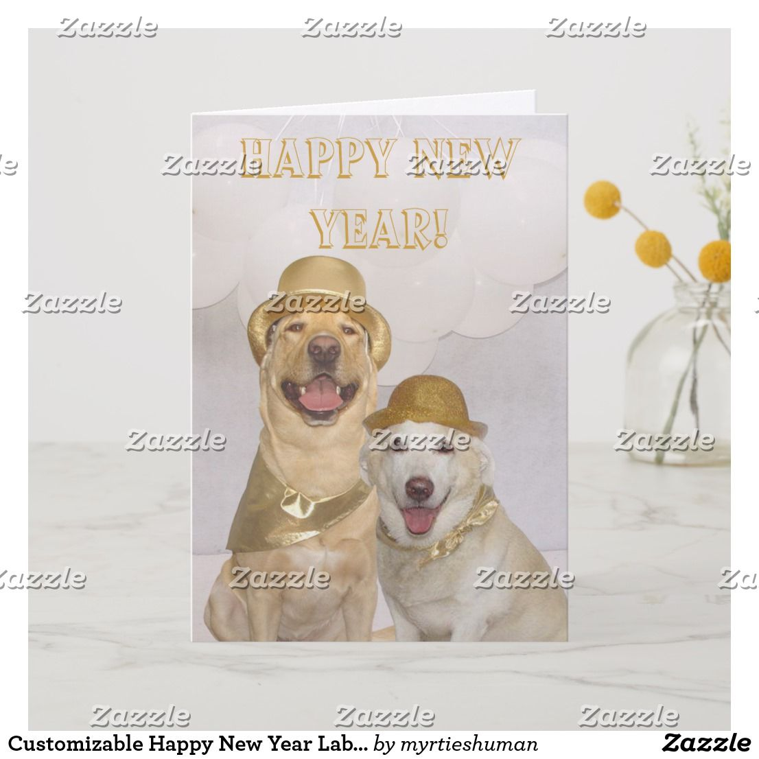 Customizable Happy New Year Lab/Dogs Holiday Card | Holiday ...