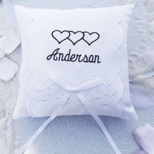 Personalized  Embroidered Hearts Ring Pillow - *more colors available