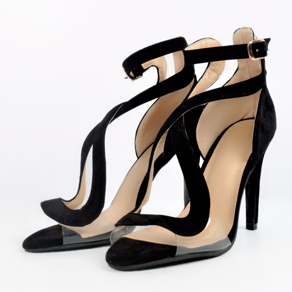 78.69$  Watch here - http://aliilz.worldwells.pw/go.php?t=32758656346 - 2016 women summer shoes Black super sexy high-heeled sandals Flock material clear size 47 high heels Buckle design Fashion Solid 78.69$