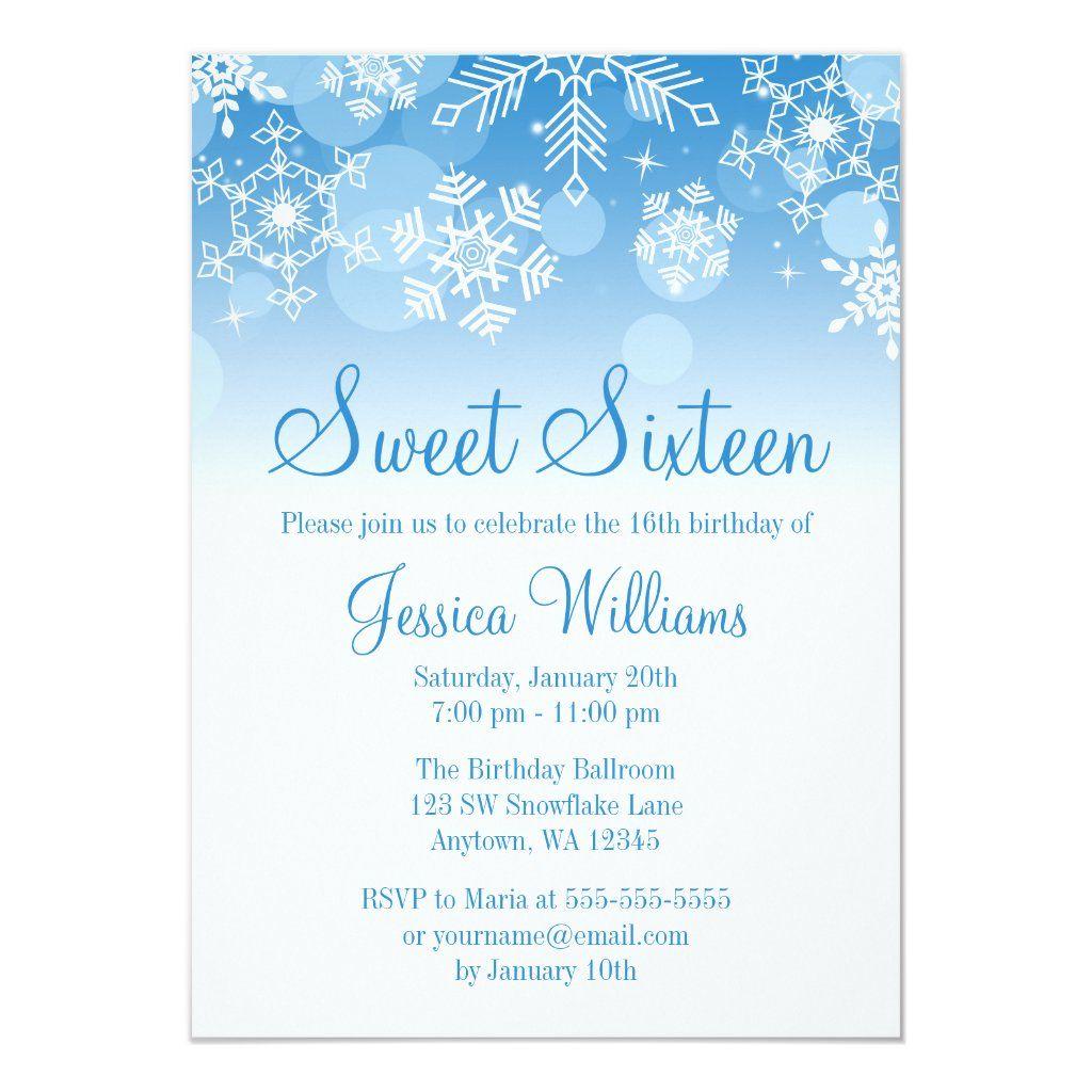 Snowflakes Blue White Winter Wonderland Sweet 16 Invitation