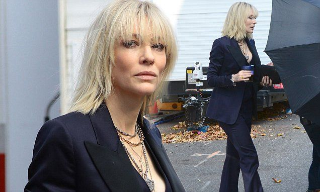 Cate Blanchett steps out in gold boots to film the reboot of Oceans 11
