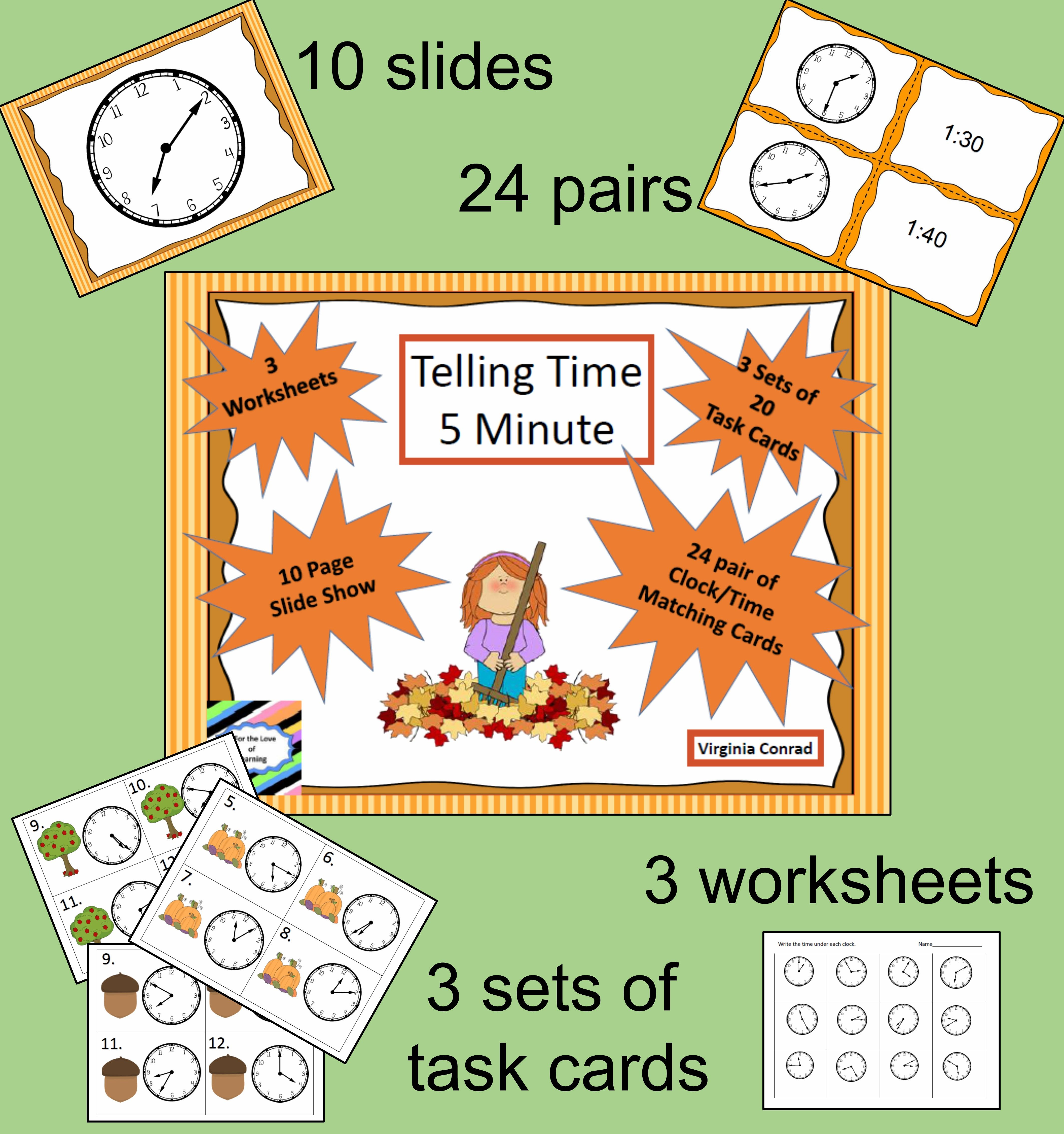 Telling Time 5 Minute Intervals 3 Sets Of Task Cards