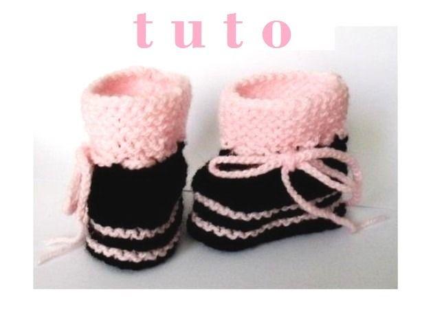 tuto chaussons boots b b noir rose mod le tricot naissance aux 9 mois diy tuto tricot. Black Bedroom Furniture Sets. Home Design Ideas
