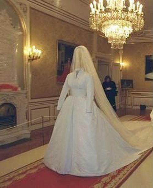 Alexandra, Countess of Fredericksborg (nee Princess Alexandra of Denmark) wedding gown display