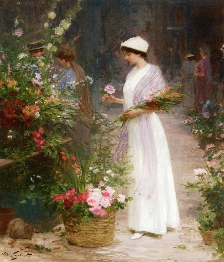 Picking Flowers by  Victor Gabriel Gilbert (French painter, 1847-1935)