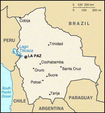 A Map Of Bolivia This Map Shows La Paz As The Capital But Sucre Is The Second Capital Of Bolivia Bolivia Map La Trip Map