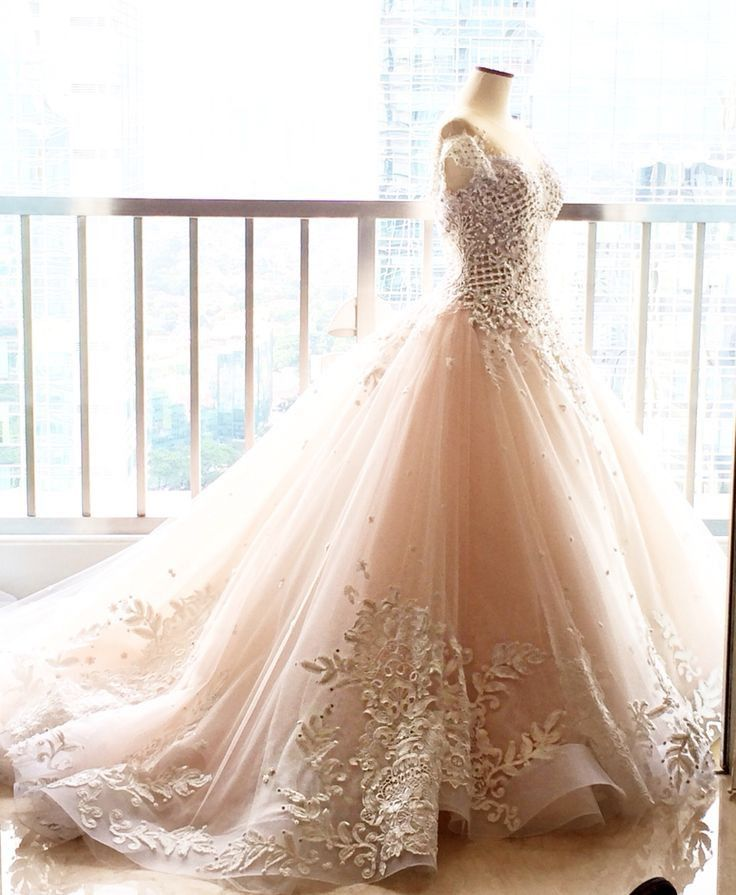 Elegant ball gowns wedding dress chapel train lace blush for White and hot pink wedding dress