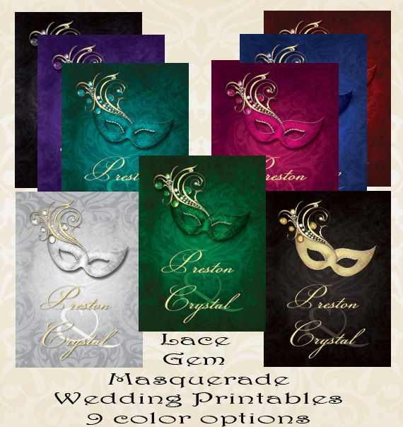 Lace Gem Masquerade Wedding Invitation Digital Printable Or 5x7 Printed Invitations With FREE SHIPPING