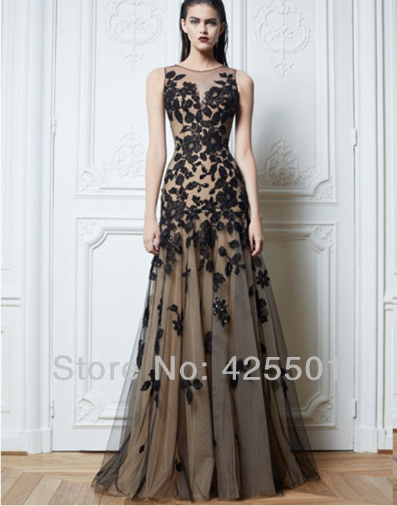 Vestido de renda 2014 Formal A-Line Appliques Black Long Night ...