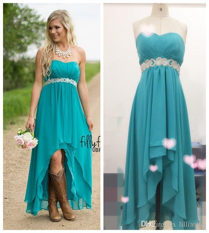 Real image hot country western high low turquoise for Western wedding bridesmaid dresses