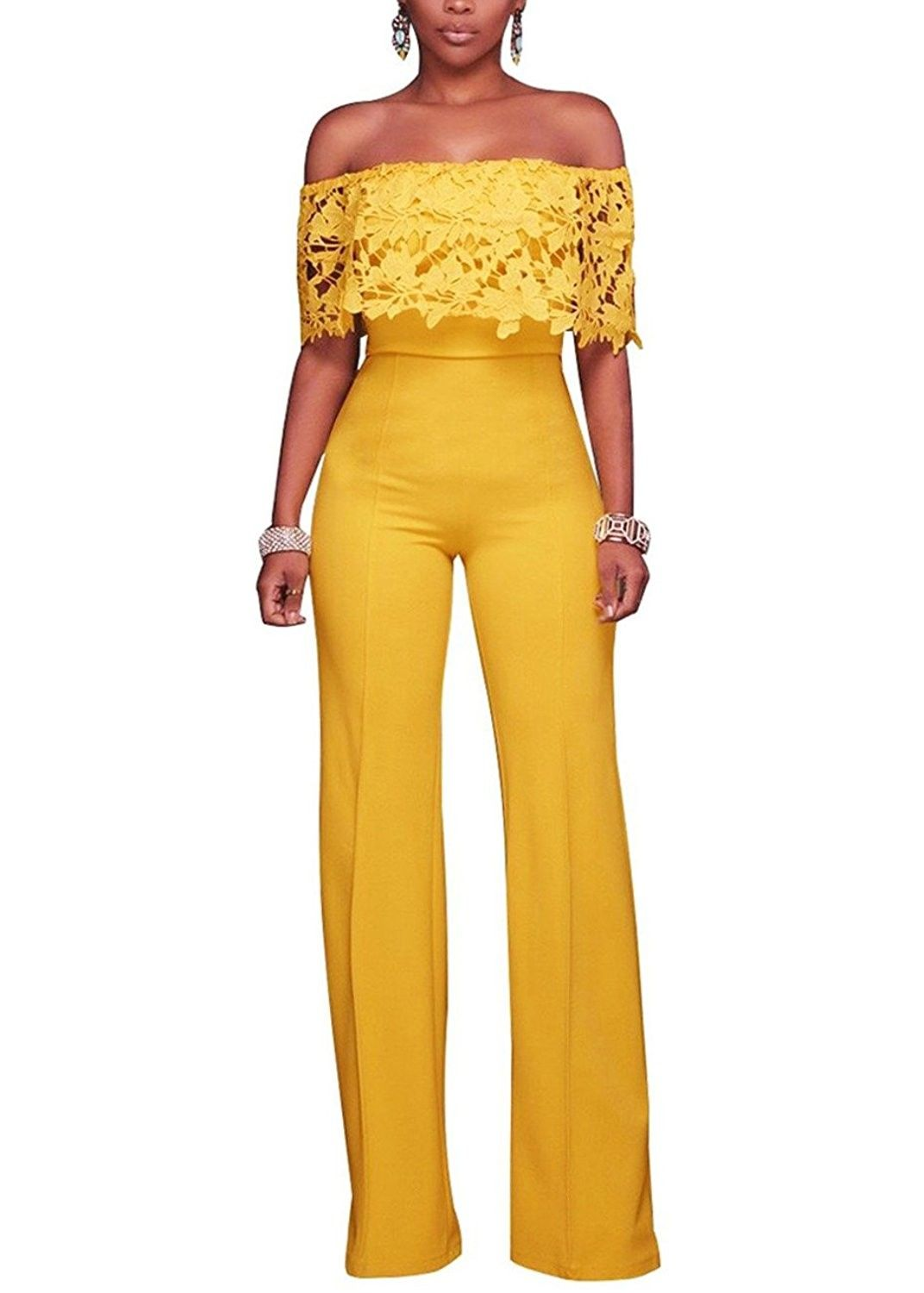 Women's Clothing Beautiful Sexy Women Casual Jumpsuits Cold Shoulder Ruffle Bodysuit Flare Sleeve Romper Wide Leg Playsuits Patchwork Long Overalls Female Fancy Colours