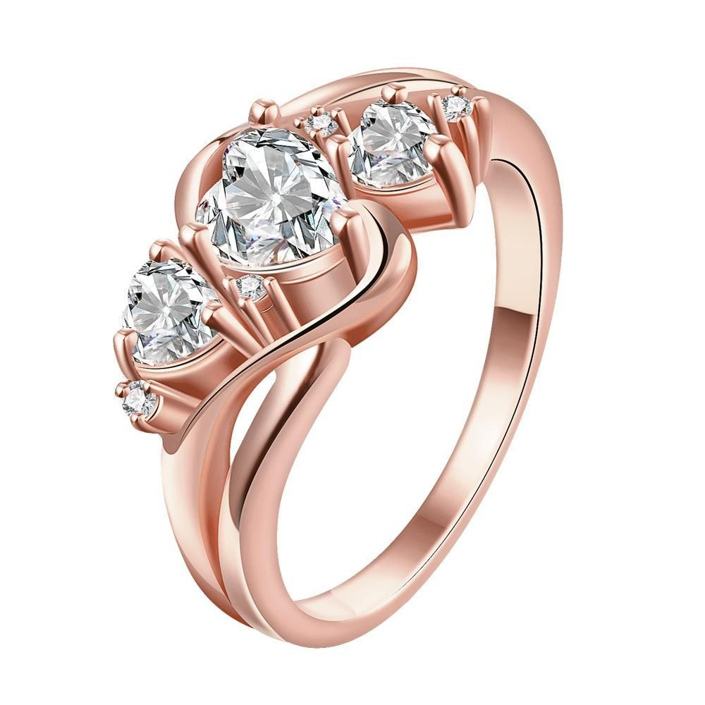 Plated Trio-Crystal Hearts Ring, Women's