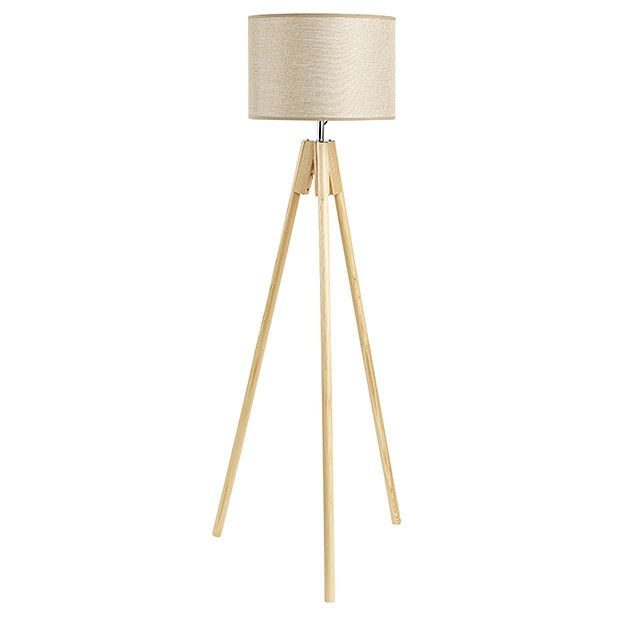 wooden tripod floor lamp with grey shade target spotlight manufacturers natural wood