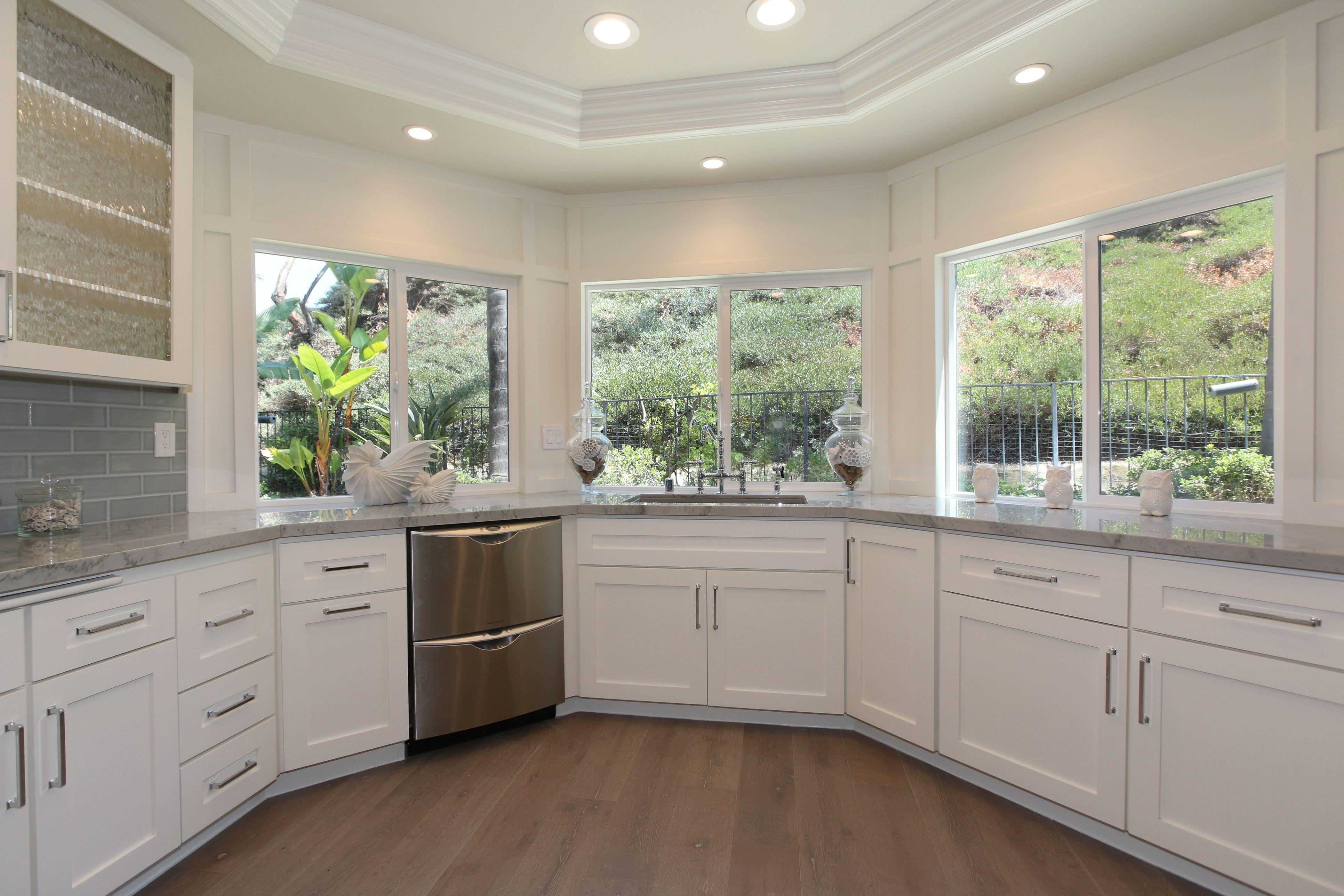 Wainscoting On Walls Around Windows In Kitchen Sea Pearl Quartzite Counters Quartzite Counters Kitchen Kitchen Window