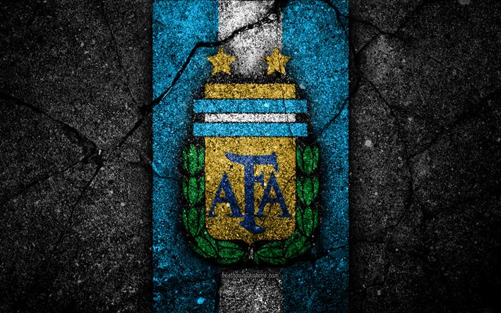 Download Wallpapers Argentinean Football Team 4k Emblem Grunge North America Asphalt Texture Soccer Argentina Logo South American National Teams Black Argentina Football National Football Teams Argentina Football Team