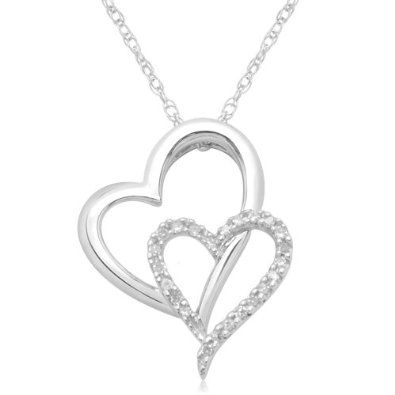 Diamond heart pendant necklace 10k white gold double heart diamond diamond heart pendant necklace 10k white gold double heart diamond pendant necklace 1 mozeypictures Gallery