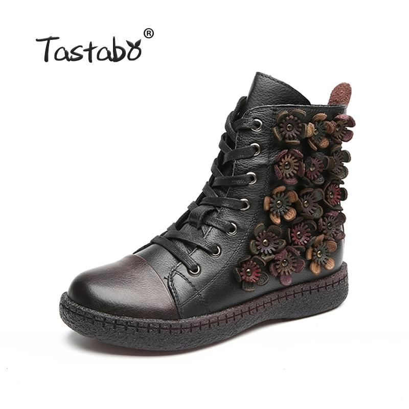 07e00f41e Tastabo Flower Ankle Boots for Women Winter Boots with Fur Classic ...
