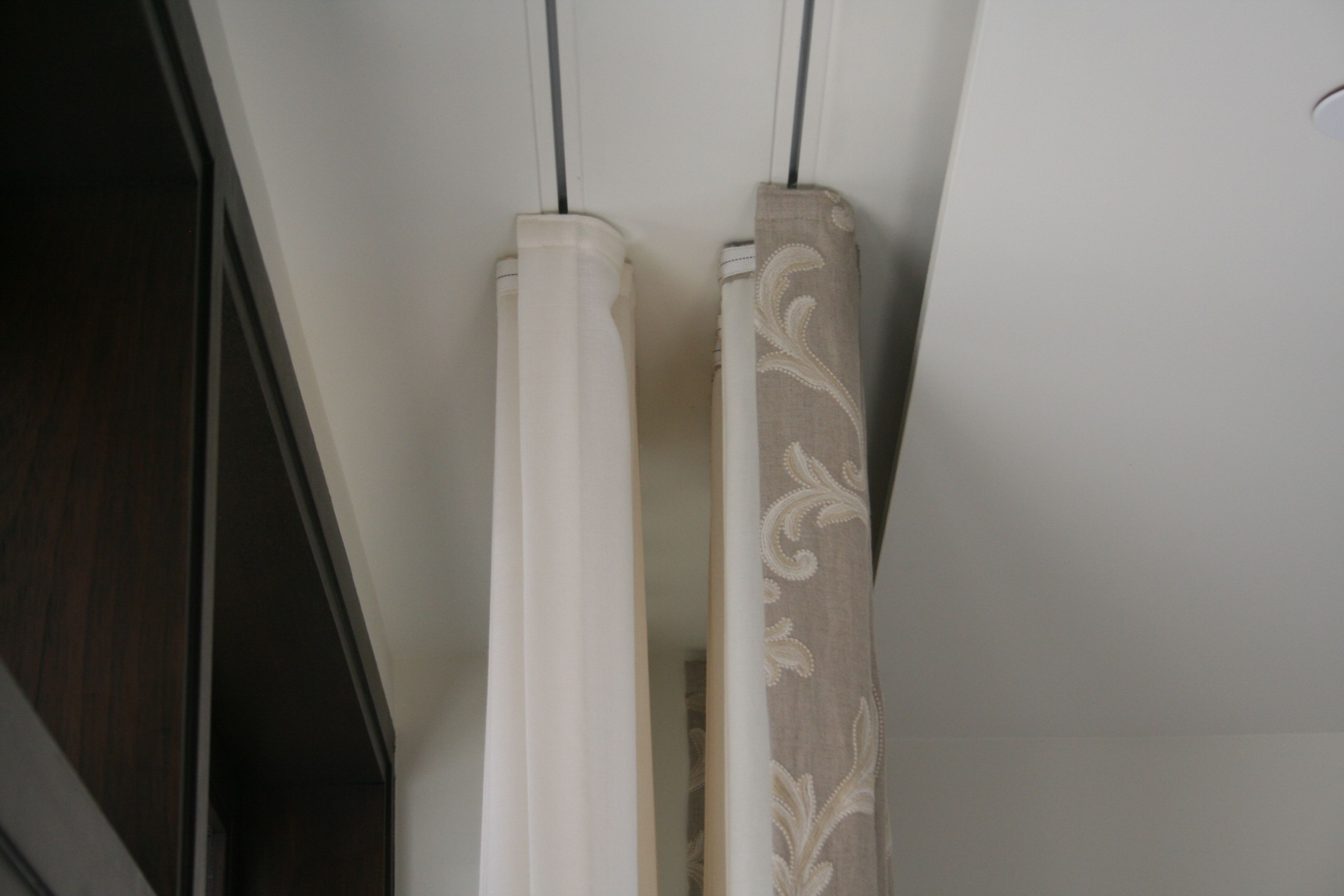 Dual Ripplefold Drapes And Tracks Flush With The Ceiling. These Are Manual  Drapes.
