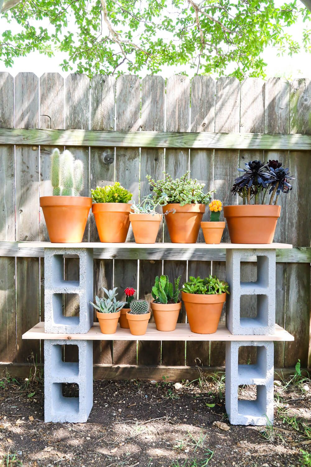 Cinderblock Plant Shelves Plants Plant Stands Outdoor Plant Stand