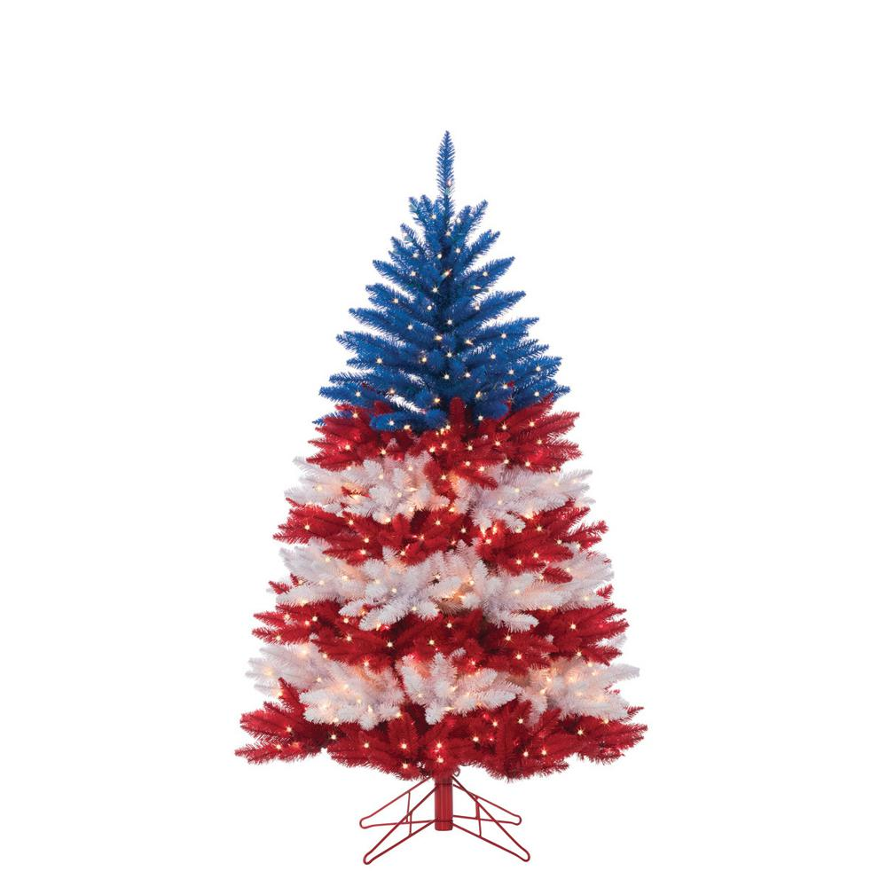 Sterling 5 Ft Patriotic American Artificial Christmas Tree In Red White And Blue With 495 Cl Patriotic Christmas Tree Blue Christmas Tree Patriotic Christmas