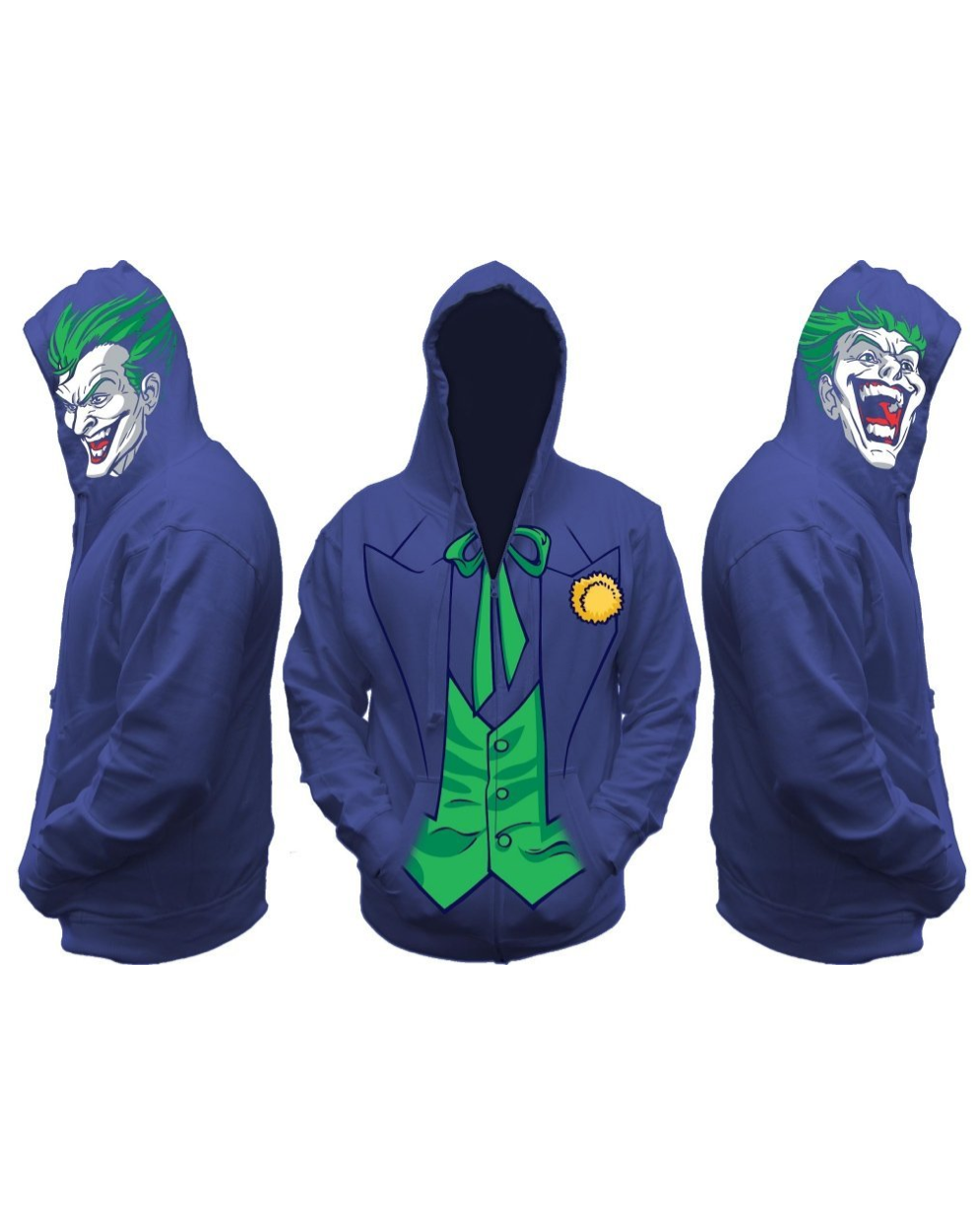 Become the terror of Gotham with the Joker Costume Hoodie! This product is  an officially licensed piece of DC Comics. Uses a zip-up sweatshirt design.
